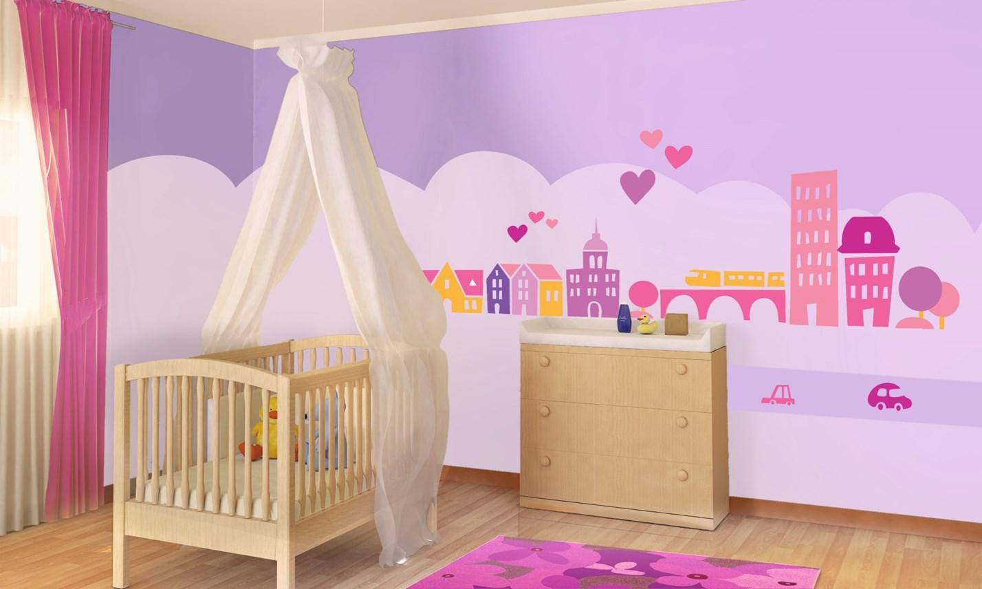 Stickers murali bambini cameretta greca per bambine rosa for Decorazioni camerette bambini immagini